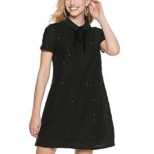 NWT ELLE Black Sequin Collared Dress